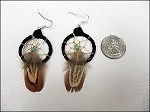 Leather/Feather Dream Catcher Earrings - 3677