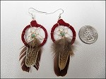 Leather/Feather Dream Catcher Earrings - 3679