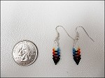 Beaded Feather Earrings (small) - 3627